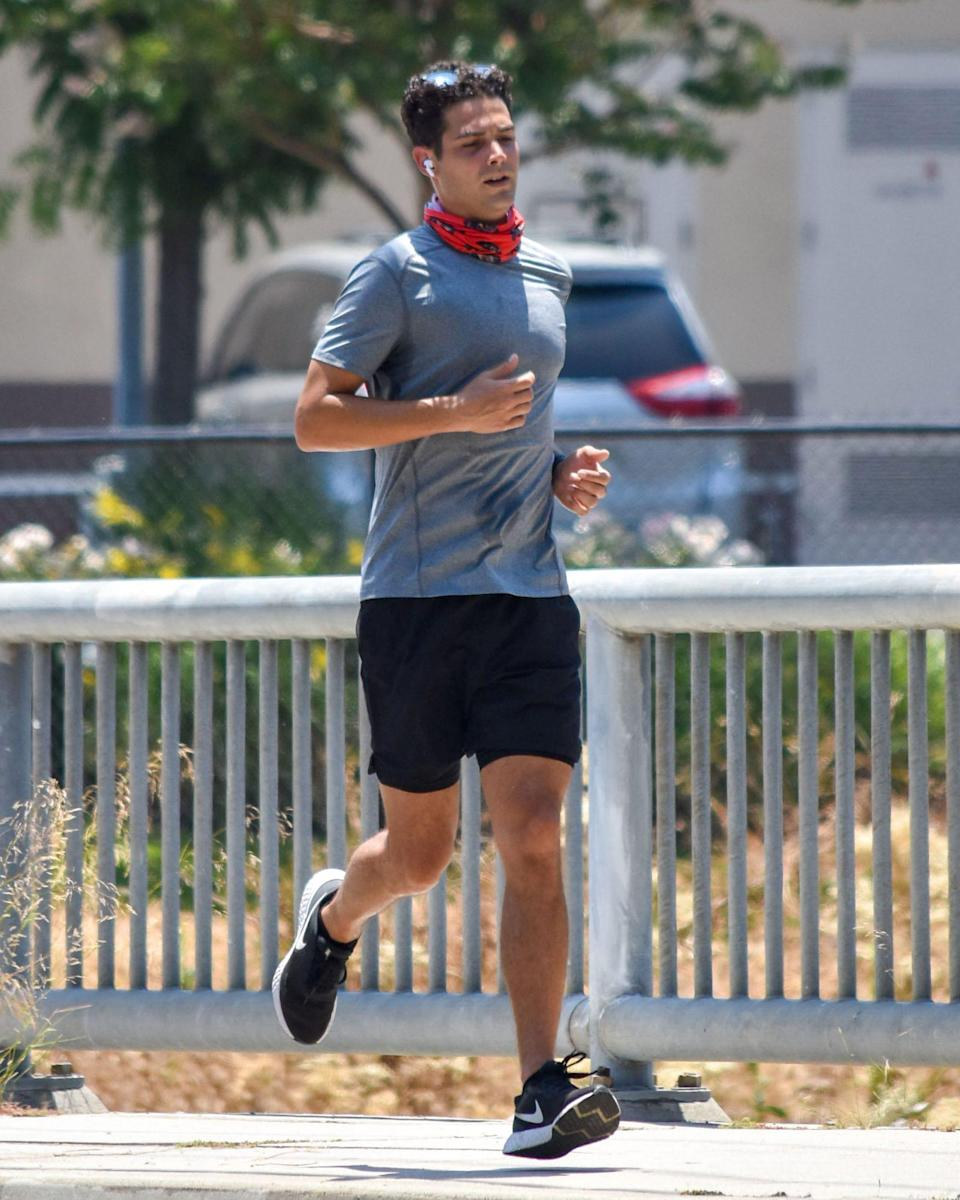 <p>Wells Adams flies solo for a run in Los Angeles on Monday.</p>