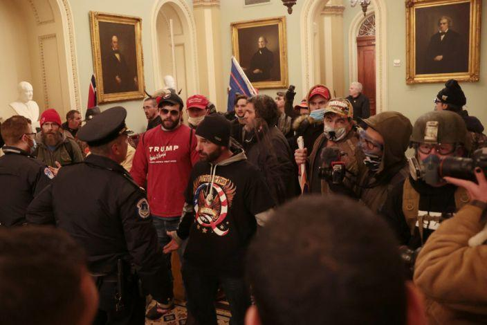 A group of Trump supporters inside the US Capitol building.
