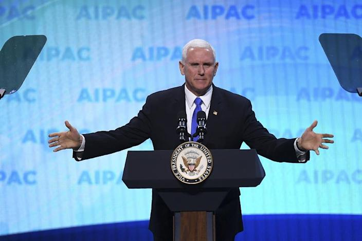 US Vice President Mike Pence hails President Donald Trump before the pro-Israel US lobby AIPAC (AFP Photo/Jim WATSON)