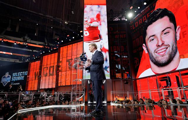 Baker Mayfield's selection came with a bit more hype than most. (Getty)