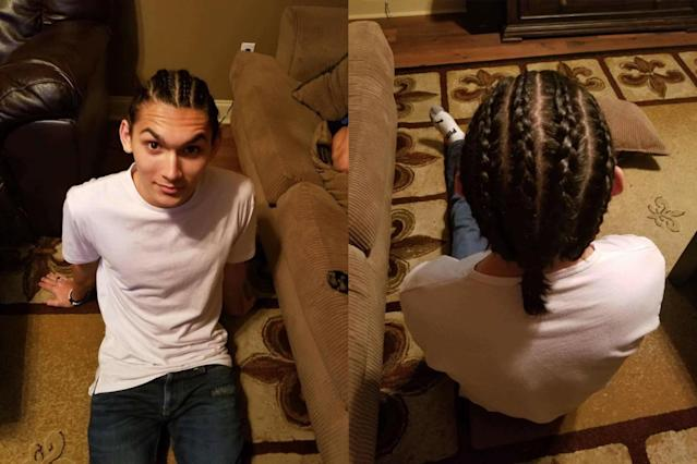Jeremy McLain wearing a braided hairstyle. (Photos: Courtesy of Sabrina Maria Sisk)