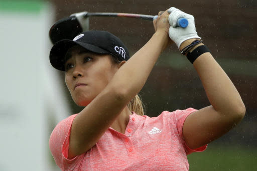 Dannielle Kang watches her drive on the tenth hole during the second round of the LPGA Drive On Championship golf tournament Saturday, Aug. 1, 2020, at Inverness Golf Club in Toledo, Ohio. (AP Photo/Gene J. Puskar)