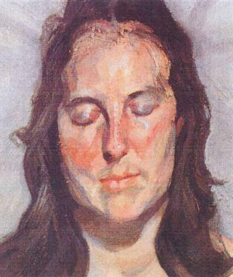 This photo released by the police in Rotterdam, Netherlands, on Tuesday, Oct. 16, 2012, shows the 2002 painting 'Woman with Eyes Closed' by Lucian Freud. Dutch police say seven paintings stolen from the Kunsthal museum in Rotterdam include one by Pablo Picasso, one by Henri Matisse, and two by Claude Monet. The heist, one of the largest in years in the Netherlands, occurred while the private Triton Foundation collection was being exhibited publicly as a group for the first time. (AP Photo/Police Rotterdam)