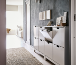 """<p>Not only can you use this shoe cabinet to store all of your sneakers and host all of your necessities on top (keys, wallet, and glasses), but you can fill some of the drawers with important papers, small umbrellas, pet leashes, and so much more.</p><p><a class=""""link rapid-noclick-resp"""" href=""""https://go.redirectingat.com?id=74968X1596630&url=https%3A%2F%2Fwww.ikea.com%2Fus%2Fen%2Fp%2Fstaell-shoe-cabinet-with-4-compartments-white-70178170%2F&sref=https%3A%2F%2Fwww.countryliving.com%2Fhome-maintenance%2Fg37186772%2Fentryway-ikea-hacks%2F"""" rel=""""nofollow noopener"""" target=""""_blank"""" data-ylk=""""slk:BUY NOW"""">BUY NOW</a> <strong><em>Shore Cabinet, $100</em></strong></p>"""