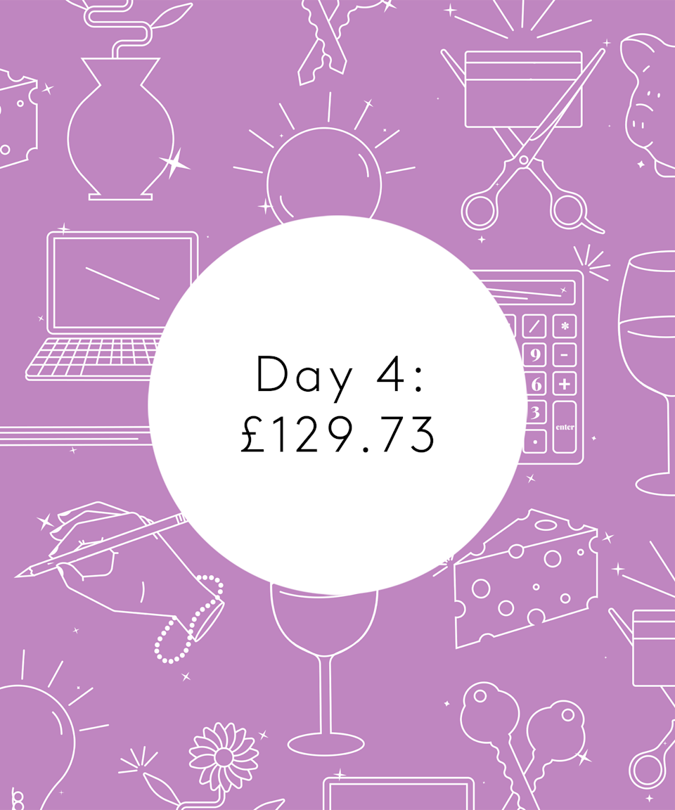<strong>Day Four</strong><br><br>7.30am: Usual morning routine without a walk for me. I ask M to take T out as I've a busy day ahead. Get a notification that a pair of trainers I've been eyeing up are back in stock in my size. £103.50 after 10% off for signing up to a newsletter. They're expensive but sustainably made and I can't help myself. That impulse shopper reappears! £103.50<br><br>8am: Feel guilty about the trainers and remember I've now gone over my weekly budget. Five minutes of my mind spiralling. Try to focus on meal planning and organising the online shop at Asda. We used to be Lidl shoppers and then go to Tesco/Sainsbury's for other bits we couldn't get but over the last year the queues and how busy it was started to make me really anxious. I also felt that I shouldn't be going into multiple stores during a pandemic if I could help it so now we do one online shop per week. Total of £52.46, £26.23 for my half for biscuits, crisps, Biscoff spread, spices, onions, shallots, avocado, garlic, mushrooms, eggs, milk, bread, strawberries, blueberries, apples, limes, pears, fresh herbs, black beans, sweetcorn, squash, porridge, yoghurts, prawns, cod, lean beef mince and delivery cost, all to be delivered in five days. <br><br>8.30am: Have meetings today from 10-1pm so log on and start trying to finish as much as I can until then, fuelled by coffee. Also set up two kitchen table chairs beside each other so T can sit beside me and snooze.<br><br>1pm: Finish up with meetings and start to feel a bit stressed that I've not had the full morning to work on my list. Deciding to bring T to the park, we have a run around together and it's sunny and makes me feel relaxed and happy again. Home for soup and an orange.<br><br>6.20pm: Finish up after a long afternoon pushing to get stuff done. Have a big to-do list tomorrow and definitely consumed half an Easter egg as I worked.<br><br>6.30pm: Going to stay with my parents for a few days (they're my bubble so this is within C