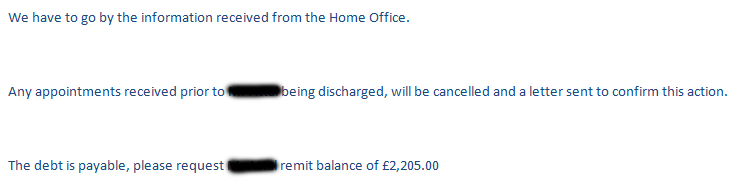 Initial email response from BHR Hospitals to caseworker Debbie Rea when she disputed the bills made payable to a male asylum seeker for medical treatment, sent on 30 January 2017