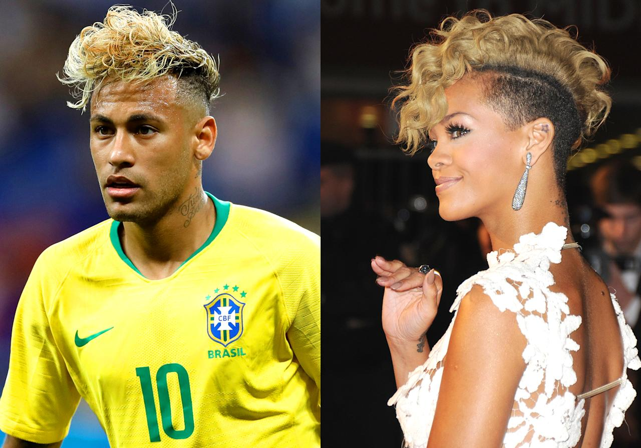 <p>Neymar's hair and Rihanna's hair </p>