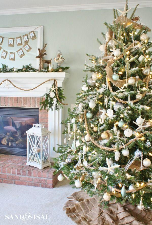 """<p>Rope garland and DIY sand dollar ornaments are great starting points for nautical Christmas décor. Add in some soft blue tones and netting for a full-on look.</p><p><em><a href=""""http://sandandsisal.com/2014/12/coastal-christmas-home.html#comment-611258"""" rel=""""nofollow noopener"""" target=""""_blank"""" data-ylk=""""slk:See more at Sand & Sisal »"""" class=""""link rapid-noclick-resp"""">See more at Sand & Sisal »</a></em><br></p>"""