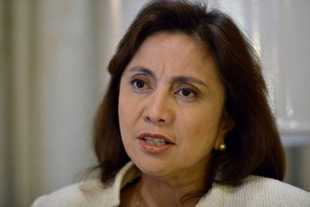 Philippines' Vice President Leni Robredo speaks during a Reuters interview, at the Quezon City Reception House, Metro Manila