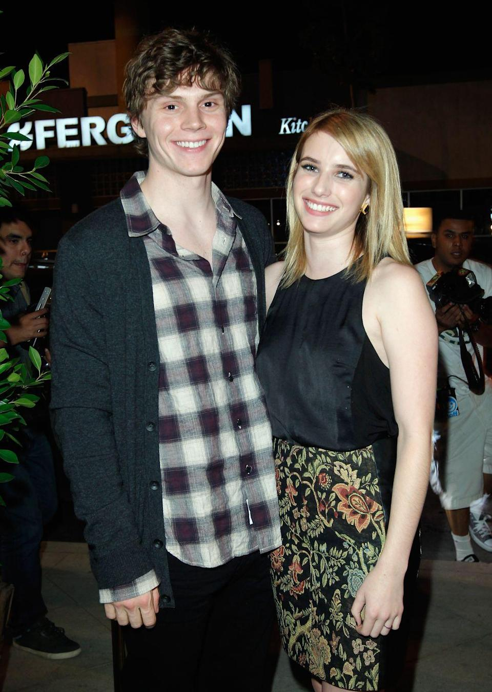 """<p>The on-and-off pair started dating after meeting on the set of their 2012 film <em>Adult World</em><span class=""""redactor-invisible-space"""">. Peters proposed over the holidays in 2013 but they broke things off in June 2015. <a href=""""http://www.usmagazine.com/celebrity-news/news/emma-roberts-evan-peters-are-engaged-again-spotted-kissing-w452415"""" rel=""""nofollow noopener"""" target=""""_blank"""" data-ylk=""""slk:They reportedly got back together"""" class=""""link rapid-noclick-resp"""">They reportedly got back together</a> in November 2016, before splitting once more <a href=""""https://people.com/movies/emma-roberts-evan-peters-call-off-engagement-report/"""" rel=""""nofollow noopener"""" target=""""_blank"""" data-ylk=""""slk:in March 2019"""" class=""""link rapid-noclick-resp"""">in March 2019</a>.</span></p>"""