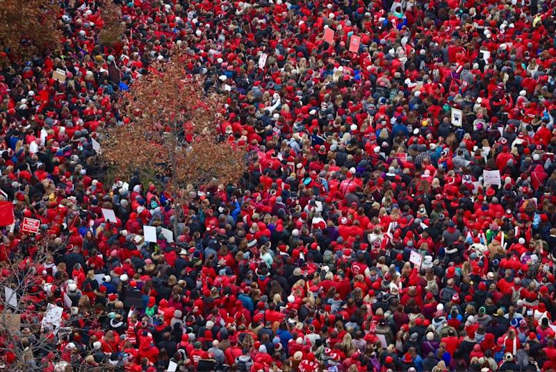 Thousands of teachers gathered outside the Indiana Statehouse for Red for Ed Action Day on Tuesday, Nov. 19, 2019.