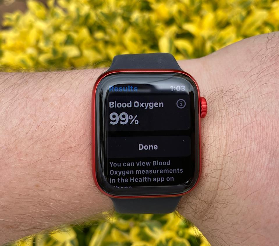 The Apple Watch Series 6 includes a new blood oxygen sensor to see how much oxygen travels through your blood stream. (Image: Howley)