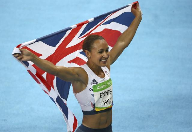 2016 Rio Olympics - Athletics - Final - Women's Heptathlon 800m - Olympic Stadium - Rio de Janeiro, Brazil - 13/08/2016. Jessica Ennis-Hill (GBR) of Britain celebrates after the race REUTERS/David Gray FOR EDITORIAL USE ONLY. NOT FOR SALE FOR MARKETING OR ADVERTISING CAMPAIGNS.