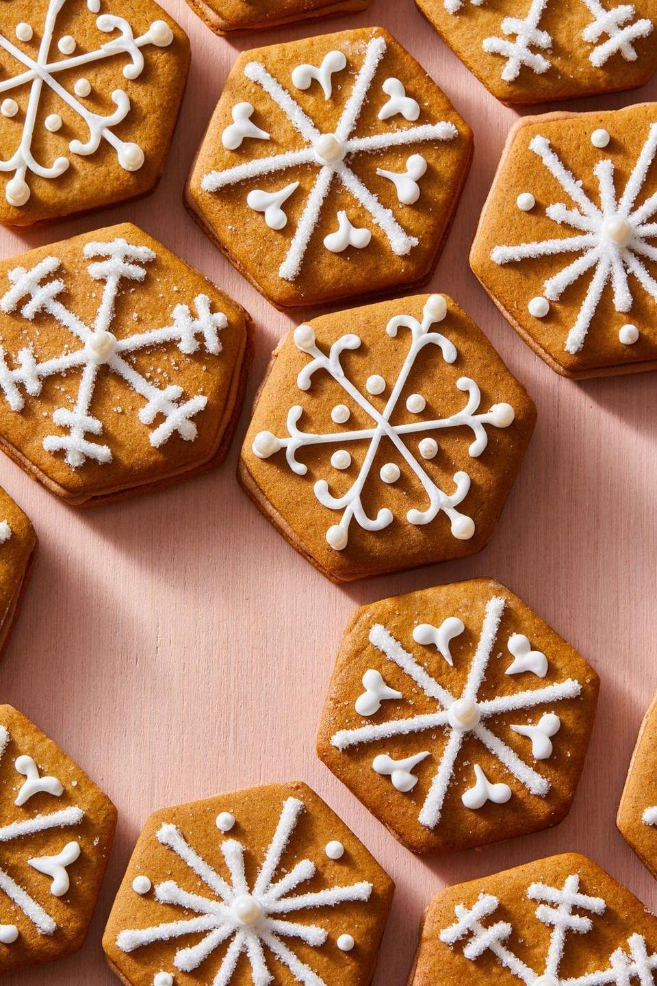 """<p>Upgrade the holiday classic by sandwiching gingerbread cookies with decadent milk chocolate frosting.</p><p><em><a href=""""https://www.goodhousekeeping.com/food-recipes/dessert/a29655477/gingerbread-sandwich-cookies-recipe/"""" rel=""""nofollow noopener"""" target=""""_blank"""" data-ylk=""""slk:Get the recipe for Gingerbread Sandwich Cookies »"""" class=""""link rapid-noclick-resp"""">Get the recipe for Gingerbread Sandwich Cookies »</a></em> </p>"""