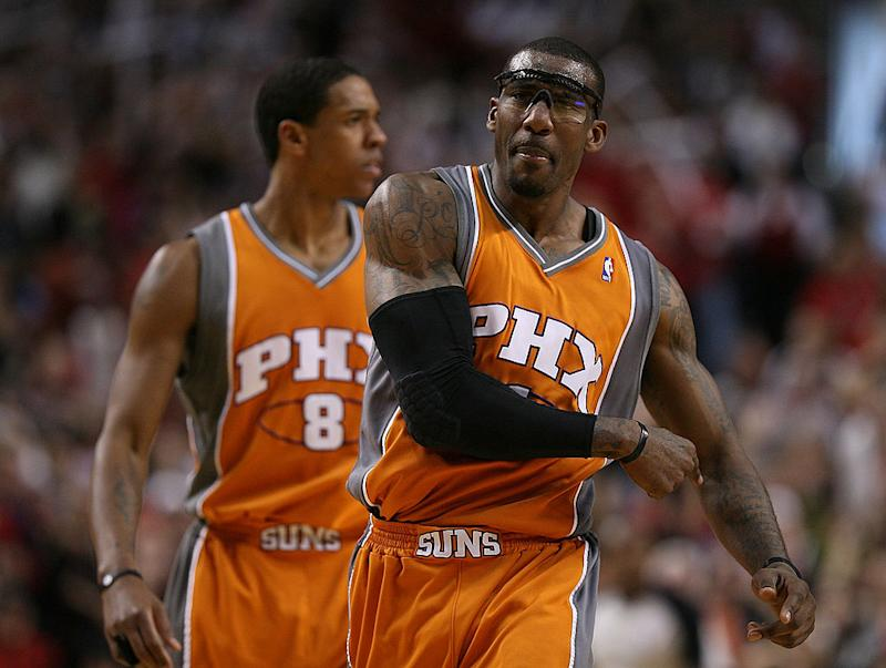 6c92be1c8742 Amare Stoudemire reacts to a foul during Game 4 of the 2010 Western  Conference Quarterfinals.