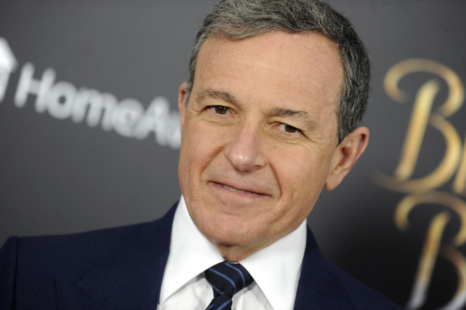 "Photo by: Dennis Van Tine/STAR MAX/IPx 2020 2/25/20 Bob Iger will step down as Disney CEO, effective immediately. STAR MAX File Photo: 3/13/17 Bob Iger at the premiere of ""Beauty And The Beast"" in New York City."