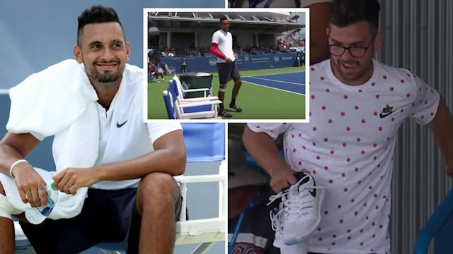 Nick Kyrgios forgot his shoes in round one before 'tanking' in the round two