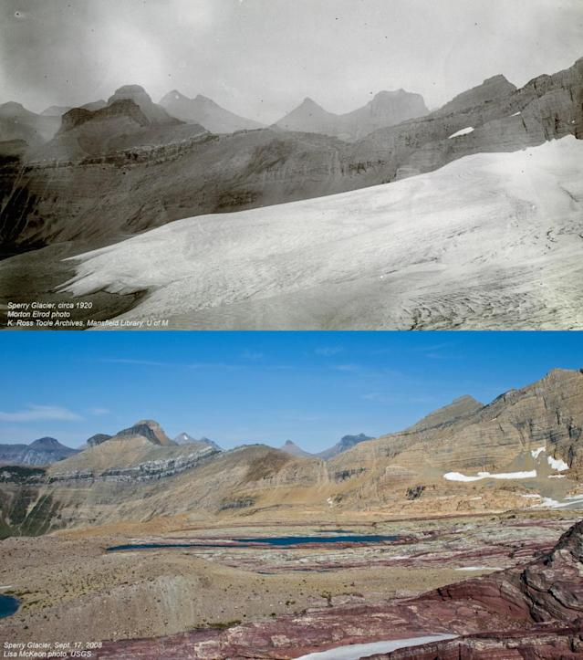 Sperry Glacier, circa 1920 (top) and in 2008. (Photos: Morton Elrod/K. Ross Toole Archives/University of Montana, Lisa McKeon/USGS)