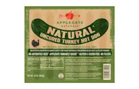 """<p>Calories: 70<br>Fat: 3.5 grams<br>Sodium: 450 milligrams<br>Cholesterol: 35 milligrams</p> <p>Applegate Naturals Turkey Hot Dogs contain 98% turkey and water; the other ingredients are salt, paprika, onion, garlic, cardamom, coriander, mace, ginger, black pepper, celery juice powder and cherry powder for flavor. Pair these turkey dogs with some <a href=""""https://www.thedailymeal.com/best-recipes/cucumber-dill-pasta-salad?referrer=yahoo&category=beauty_food&include_utm=1&utm_medium=referral&utm_source=yahoo&utm_campaign=feed"""" rel=""""nofollow noopener"""" target=""""_blank"""" data-ylk=""""slk:pasta salad"""" class=""""link rapid-noclick-resp"""">pasta salad</a>, <a href=""""https://www.thedailymeal.com/best-recipes/spring-green-asparagus-salad?referrer=yahoo&category=beauty_food&include_utm=1&utm_medium=referral&utm_source=yahoo&utm_campaign=feed"""" rel=""""nofollow noopener"""" target=""""_blank"""" data-ylk=""""slk:green salad"""" class=""""link rapid-noclick-resp"""">green salad</a> or other <a href=""""https://www.thedailymeal.com/cold-dishes-for-hot-days-recipes?referrer=yahoo&category=beauty_food&include_utm=1&utm_medium=referral&utm_source=yahoo&utm_campaign=feed"""" rel=""""nofollow noopener"""" target=""""_blank"""" data-ylk=""""slk:cold dishes perfect for hot summer days"""" class=""""link rapid-noclick-resp"""">cold dishes perfect for hot summer days</a>.</p>"""
