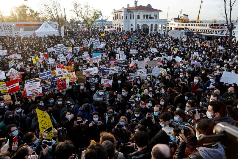 FILE PHOTO: Students of Bogazici University protest in Istanbul