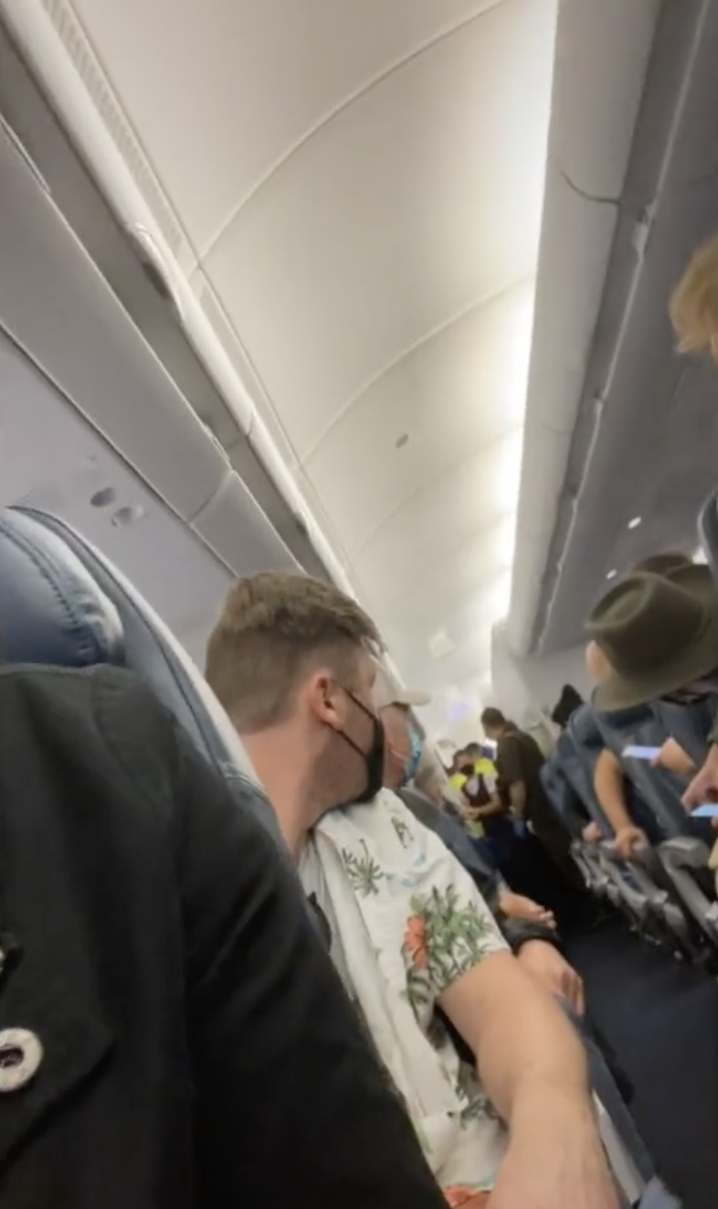 Passengers look back at a woman who gave birth on a Delta Airlines flight, a moment captured in a TikTok video.