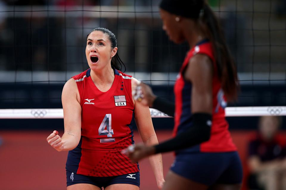 """<a href=""""http://yhoo.it/Nhx7fl"""" rel=""""nofollow noopener"""" target=""""_blank"""" data-ylk=""""slk:Lindsay Berg"""" class=""""link rapid-noclick-resp"""">Lindsay Berg</a> of the U.S. volleyball team shares Hawaiian-Chinese-Portuguese and Lithuanian heritage. (Photo by Elsa/Getty Images)"""