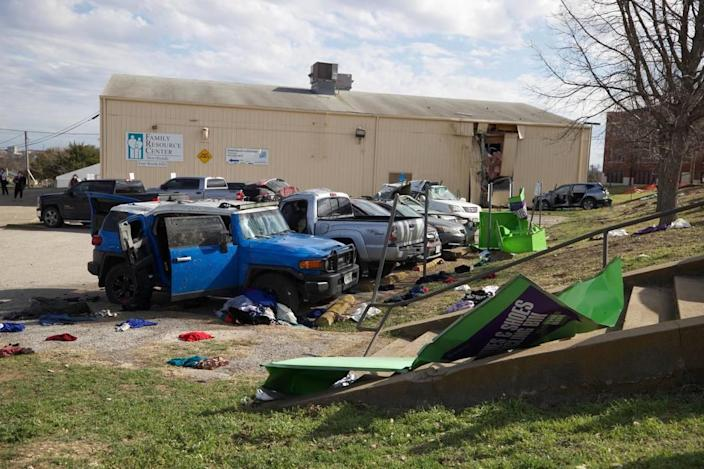 A car crashed into other vehicles in a parking lot and then into a building at JP Elder Middle School on March 1, 2021, in Fort Worth.