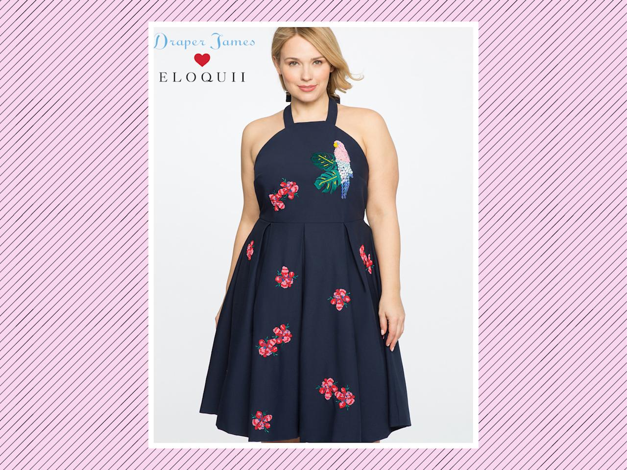 "<p>Draper James for Eloquii parrot-embellished dress, $225, <a rel=""nofollow"" href=""http://www.eloquii.com/draper-james-for-eloquii-parrot-embellished-dress/1226048.html?cgid=draper-james&dwvar_1226048_colorCode=49&start=6"">Eloquii</a> (Photo: Eloquii) </p>"