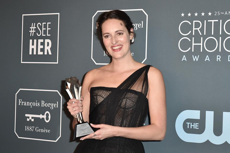 SANTA MONICA, CALIFORNIA - JANUARY 12: Phoebe Waller-Bridge attends the 25th Annual Critics' Choice Awards -  Press Room at Barker Hangar on January 12, 2020 in Santa Monica, California. (Photo by David Crotty/Patrick McMullan via Getty Images)