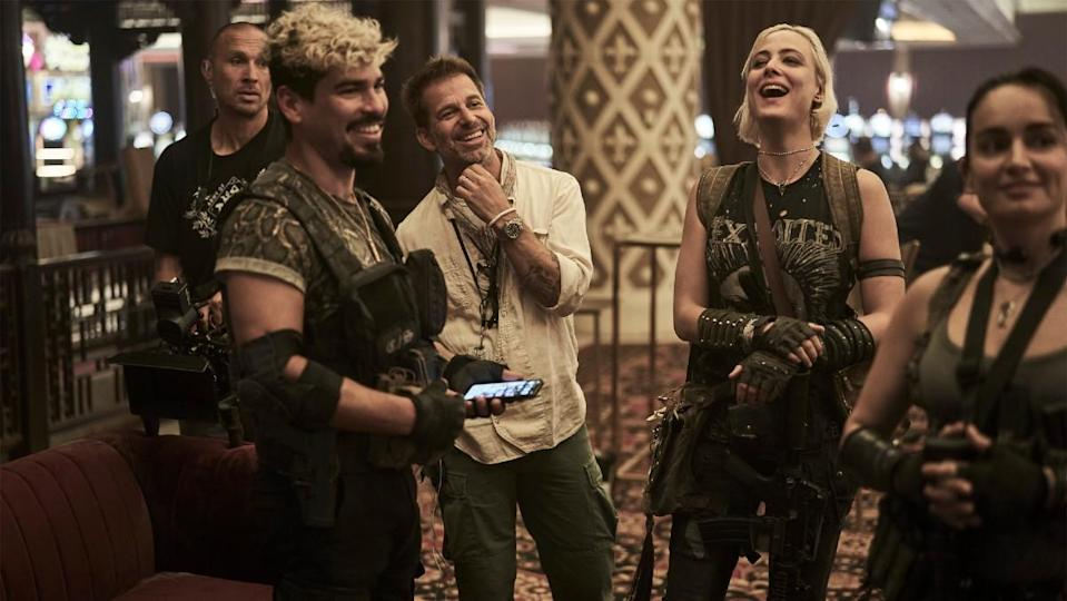 Raúl Castillo, Zack Snyder, and Nora Arnezeder joke behind the scenes of Army of the Dead.