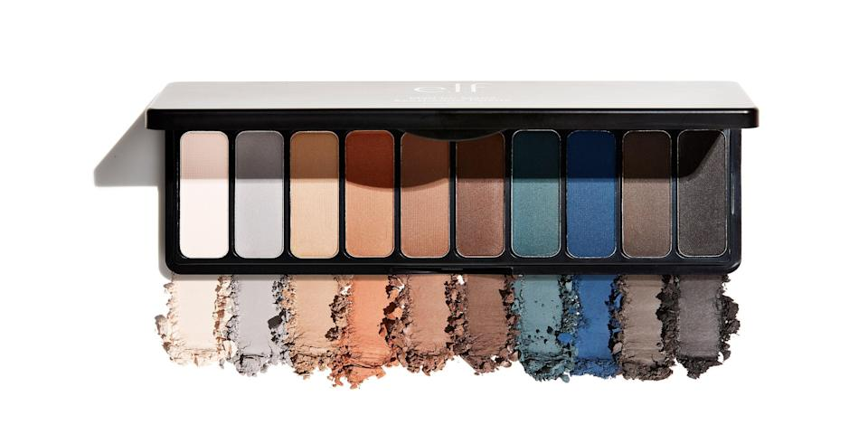"""<p>With all the latest palettes packed with terracotta and peach shades, the E.L.F. Mad For Matte Holy Smokes Palette has a much-welcomed mix of both warm- and cool-toned hues. On the right side, you have a peachy cream, blue-toned gray, and more neutral shades for laying down a clean base. Or, of course, you can wear just one by itself for a more minimalist look. On the left side, you have a gorgeous teal, sapphire blue, and soft black for making your smoky eye fantasies a reality. (Hence the name Holy Smokes.) You can make sure they are all blended well with the shades situated in the middle of the palette.</p> <p><strong>$10</strong> (<a href=""""https://www.elfcosmetics.com/mad-for-matte-eyeshadow-palette---holy-smokes/200096.html"""" rel=""""nofollow noopener"""" target=""""_blank"""" data-ylk=""""slk:Shop Now"""" class=""""link rapid-noclick-resp"""">Shop Now</a>)</p>"""