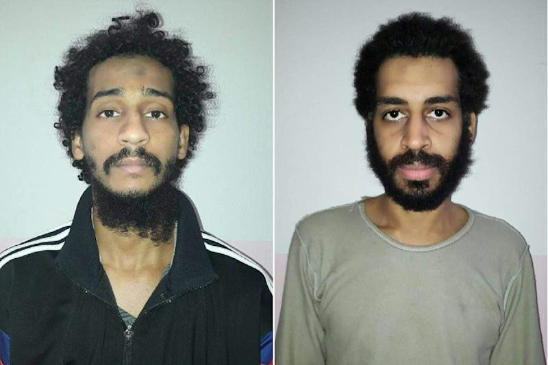 British Islamic State group fighters El Shafee el-Sheikh (left) and Alexanda Amon Kotey appear in mugshots released by the Syrian Democratic Forces (AFP Photo/Handout)