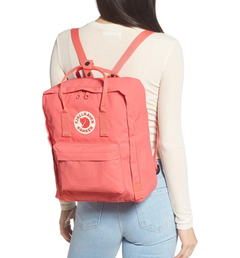 Fjällräven Kånken Water Resistant Backpack in peach pink