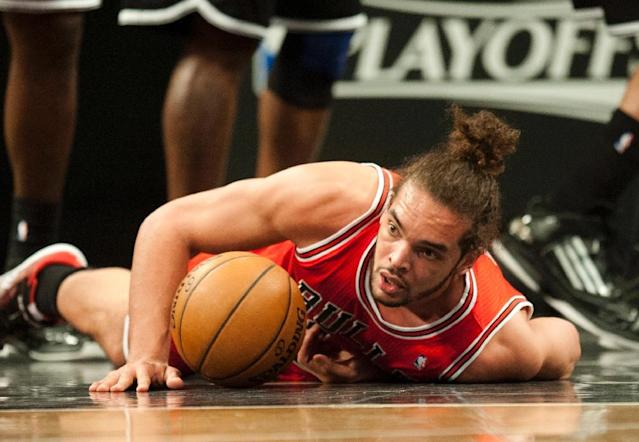 Joakim Noah, then of the Chicago Bulls, pictured during game one of their first round NBA playoff game against the Brooklyn Nets in New York, on April 20, 2013 (AFP Photo/Don EMMERT)