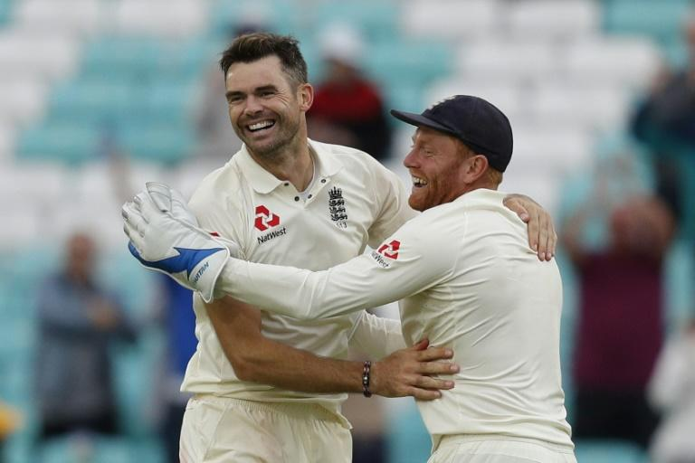 England's James Anderson was congratulated by Jonny Bairstow after taking the wicket of India's Mohammed Shami to end the match