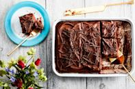 "This <a href=""https://www.epicurious.com/recipes-menus/easy-milk-chocolate-cake-one-bowl-frosting-article?mbid=synd_yahoo_rss"" rel=""nofollow noopener"" target=""_blank"" data-ylk=""slk:milk chocolate"" class=""link rapid-noclick-resp"">milk chocolate</a> and caramel dessert tastes like Easter candy in cake form. The frosting is an irresistibly light-yet-fudgy combination of milk chocolate ganache and store-bought dulce de leche. <a href=""https://www.epicurious.com/recipes/food/views/one-bowl-milk-chocolate-cake-with-chocolate-caramel-frosting?mbid=synd_yahoo_rss"" rel=""nofollow noopener"" target=""_blank"" data-ylk=""slk:See recipe."" class=""link rapid-noclick-resp"">See recipe.</a>"