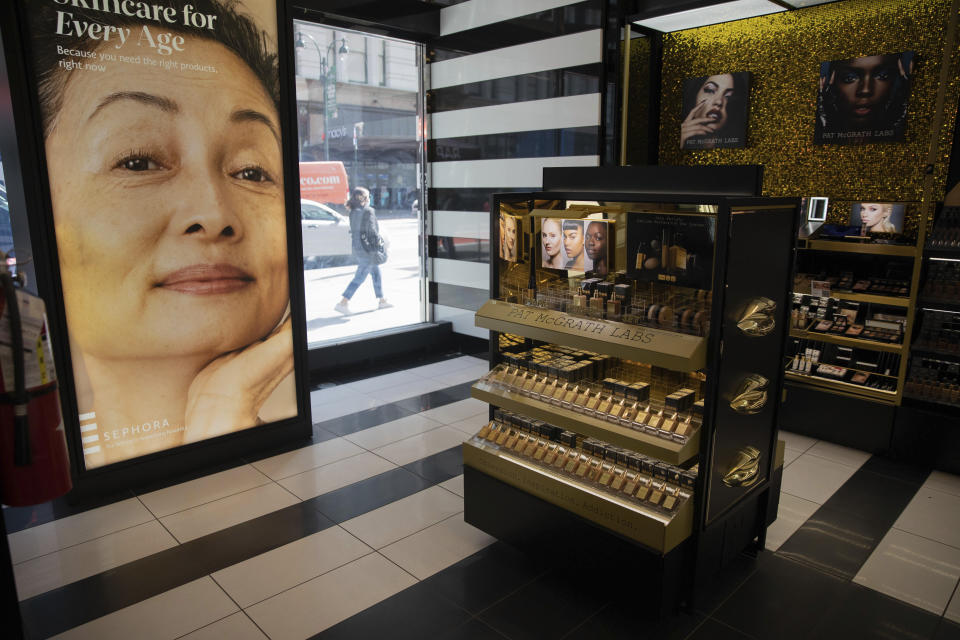 In this photo taken on May 7, 2021, products from makeup brand Pat McGrath are on display inside a Sephora store in New York. Sephora recently announced a commitment to devote at least 15% of its store shelves to Black-owned brands. (AP Photo/Robert Bumsted)