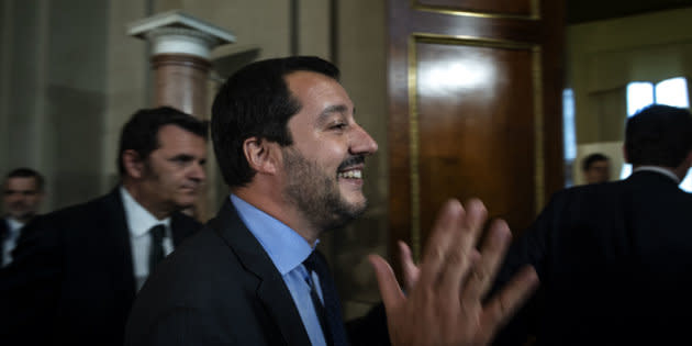 ROME, ITALY - MAY 14: Matteo Salvini, Leader of Lega political party leaves the Quirinal palace after a new day of meetings with Italian President Sergio Mattarella on formation of the new government on May 14, 2018 in Rome, Italy. Today, after fresh government-formation consultations with Italian President Sergio Mattarella, the anti-migrant Lega political party and the anti-establishment 5-Star Movement (M5S) said that they needed more time to put the final touches to a German-style government contract and to agree on a prospective premier to propose to the Italian President. (Photo by Antonio Masiello/Getty Images)