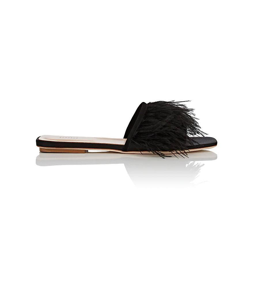 Barney's New York Feather Embellished Satin Slide Sandals (Photo: Barney's New York)