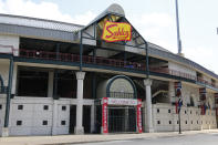 FILE - In this July 24, 2020, file photo, the entrance to Sahlen Field, home of the Toronto Blue Jays' Triple-A affiliate, in Buffalo, N.Y., is viewed. The Blue Jays will walk onto the field Tuesday, Aug. 11, 2020, as the host team for the first time in 2020. (AP Photo/Jeffrey T. Barnes, File)