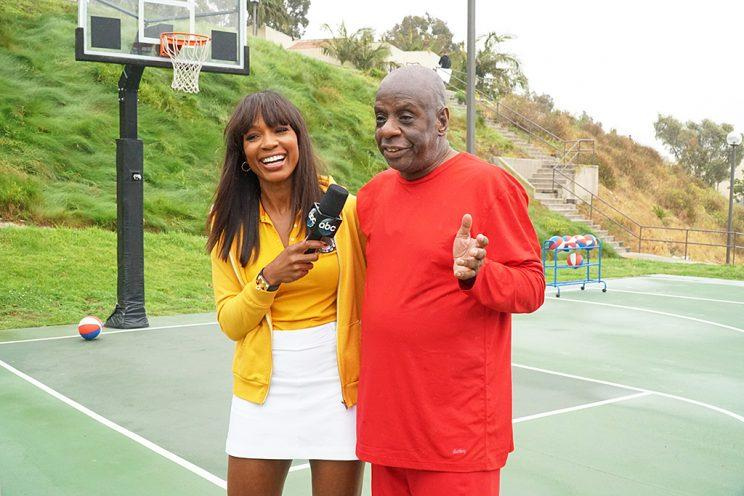 Cari Champion and Jimmie Walker on ABC's Battle of the Network Stars. (Photo Credit: Byron Cohen/ABC)