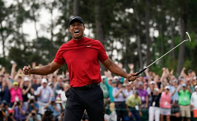 Tiger Woods reacts as he wins the 2019 Masters. (AP Photo)