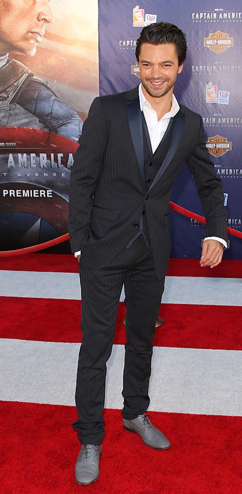 "<a href=""http://movies.yahoo.com/movie/contributor/1809051774"">Dominic Cooper</a> at the Los Angeles premiere of <a href=""http://movies.yahoo.com/movie/1810026349/info"">Captain America: The First Avenger</a> on July 19, 2011."