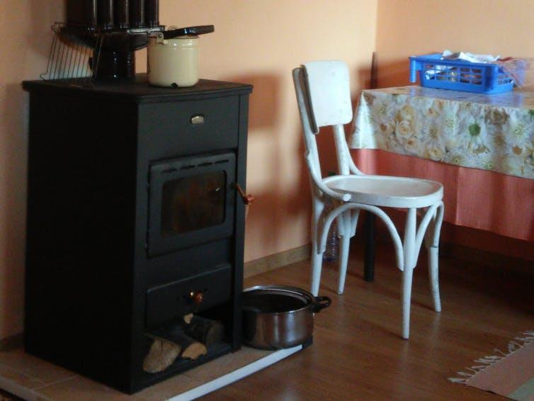 "<span class=""caption"">Figure 4: Wood-burning stove - typical in Bulgaria's village homes. August 2016.</span> <span class=""attribution""><span class=""source"">author provided</span></span>"