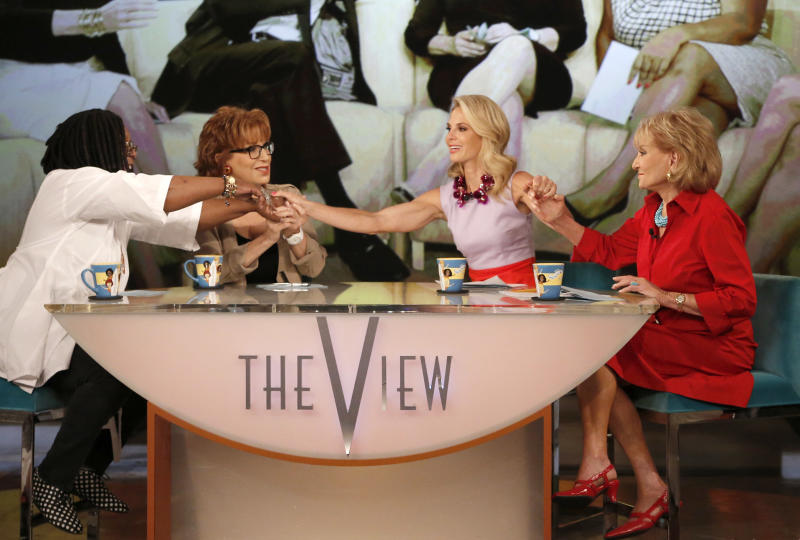 "This image released by ABC shows, from left, Whoopi Goldberg, Joy Behar, Elisabeth Hasselbeck and Barbara Walters, co-hosts on ""The View,"" during a broadcast on Wednesday, July 10, 2013, in New York. Wednesday was Hasselbeck's last day on the daytime talk show. Her exit came less than 24 hours after it was announced that Hasselbeck will join Fox News Channel and the ""Fox & Friends"" morning show in September. (AP Photo/ABC, Heidi Gutman)"