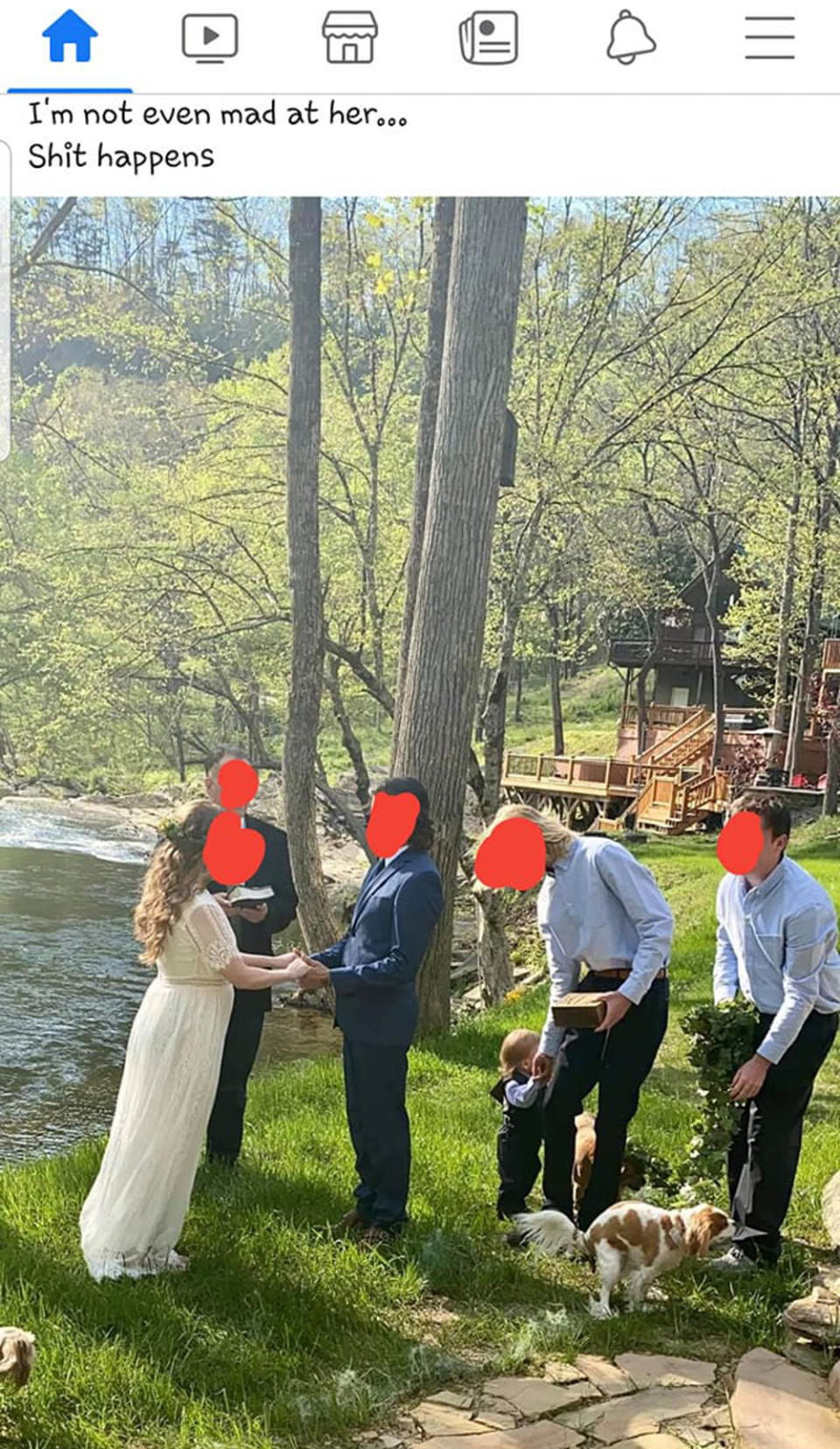 A couple gets married by the edge of a lake