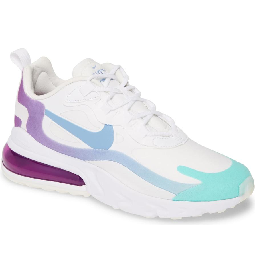 """<p><a href=""""https://www.popsugar.com/buy/Nike-Air-Max-270-React-Sneakers-534915?p_name=Nike%20Air%20Max%20270%20React%20Sneakers&retailer=shop.nordstrom.com&pid=534915&price=150&evar1=fab%3Aus&evar9=47042845&evar98=https%3A%2F%2Fwww.popsugar.com%2Fphoto-gallery%2F47042845%2Fimage%2F47043272%2FNike-Air-Max-270-React-Sneakers&list1=shopping%2Cnordstrom%2Cwinter%20fashion&prop13=api&pdata=1"""" rel=""""nofollow"""" data-shoppable-link=""""1"""" target=""""_blank"""" class=""""ga-track"""" data-ga-category=""""Related"""" data-ga-label=""""https://shop.nordstrom.com/s/nike-air-max-270-react-sneaker-women/5538242/full?origin=category-personalizedsort&amp;breadcrumb=Home%2FWomen%2FNew%20Arrivals&amp;color=white%2F%20light%20blue%2F%20green"""" data-ga-action=""""In-Line Links"""">Nike Air Max 270 React Sneakers</a> ($150)</p>"""