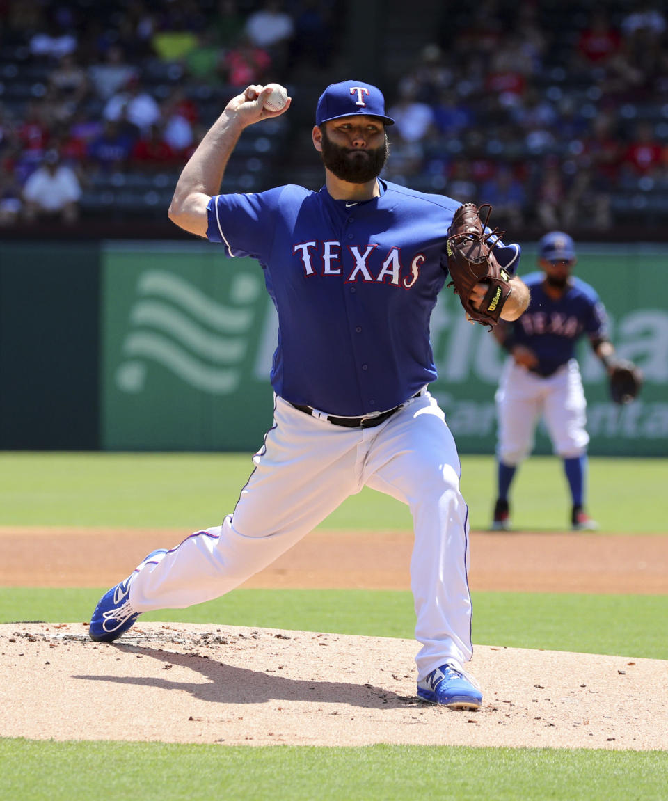 Texas Rangers starting pitcher Lance Lynn delivers against the Minnesota Twins in the first inning of a baseball game Sunday, Aug. 18, 2019, in Arlington, Texas. (AP Photo/Richard W. Rodriguez)
