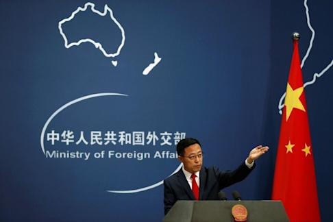 Chinese Foreign Ministry spokesman Zhao Lijian speaks about relations with Australia during a news conference in Beijing on Thursday. Photo: Reuters