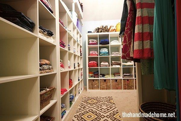 """<p>But shelving units that take up nearly all of the wall space create dedicated areas for each family member. Meanwhile, wicker baskets on the bottom row of the cubbies create concealed storage for items you might not want on full display. </p><p><em><a href=""""http://www.thehandmadehome.net/2014/03/the-family-closet/"""" rel=""""nofollow noopener"""" target=""""_blank"""" data-ylk=""""slk:See more at The Handmade Home »"""" class=""""link rapid-noclick-resp"""">See more at The Handmade Home »</a></em></p><p><strong>What you'll need: </strong><span class=""""redactor-invisible-space"""">bookshelves, $65, <a href=""""https://www.amazon.com/ClosetMaid-Cubeicals-Organizer-12-Cube-White/dp/B00E964EM6/?tag=syn-yahoo-20&ascsubtag=%5Bartid%7C2139.g.36060899%5Bsrc%7Cyahoo-us"""" rel=""""nofollow noopener"""" target=""""_blank"""" data-ylk=""""slk:amazon.com"""" class=""""link rapid-noclick-resp"""">amazon.com</a></span><br></p>"""